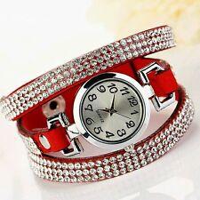 Luxury Rhinestone Leather Round Bracelet Wristwatches Women Dress Watch