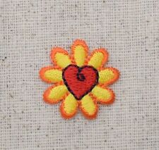 Iron On Embroidered Applique Patch - Single Flower - Yellow Daisy with Red Heart