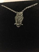 """Owl R157 English Pewter on a Silver Platinum Plated Necklace 18"""""""