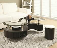 Coaster Furniture 720218 Glass Top S Shape Coffee Table With 2 Stools