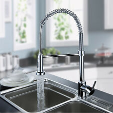 Modern Chrome Brass Pull Out Spring Kitchen Faucet Sink Mixer Tap Deck Mounted