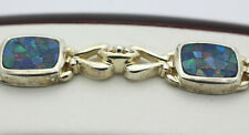 """Sterling Silver .925 Mosaic Style Blue Dichroic Glass 7.5"""" Bracelet 22.1g H110"""