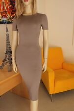 NWT Nude Taupe Body Sculpting Knit Stretch Short Sleeve Bodycon Midi Dress L
