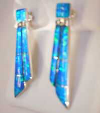 PERFECT Long Shards Blue Green FIRE Opal Earrings checkerboard inlay Silver 925
