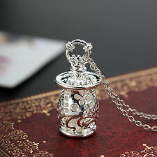 New 925 Silver Hollow Box Necklace Chain Pendant Vintage Jewelry Gift