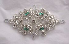 "5"" Iron On Beaded CRYSTAL RHINESTONE Applique Clear & GREEN  BLING!"