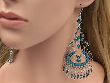 Floral Boho Chic zircon blue crystal chandlier old silver plated earrings B42
