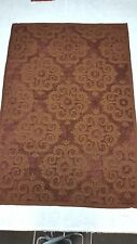 Tuscan Red & Copper Scroll Chenille Tapestry Throw and Handmade Set of Pillows