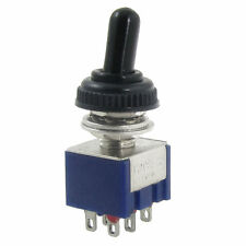 New Toggle Switch 125V 6A On/Off/On DPDT 6 Pin Mini W/ Waterproof Rubber Cap