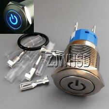 19mm 12V BLUE Led Lighted Push Button Metal MOMENTARY Switch + Connector O-ring
