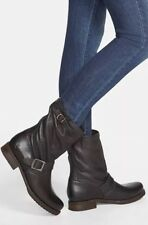 $300 FRYE VERONICA SHORTIE SOUCHY MOTO BIKER BOOT LEATHER BLACK SZ 8.5
