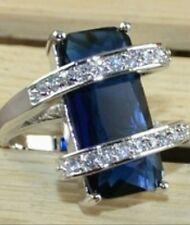 Edelstein Blau Topas im Baguetteschliff 925 Sterling Silber massiv  Größe 7 mm