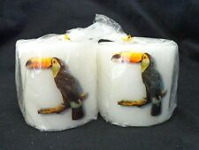 "TOUCAN BIRD CANDLE Lot of 2 White Pillar 2.5"" Unscented Tropical Tiki Lounge"