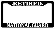 Black License Plate Frame Retired National Guard Auto Accessory Novelty