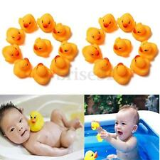 20Pcs Baby Kids Children Bath Toy Cute Rubber Race Squeaky Duck Ducky Yellow
