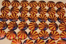 100 BRIGHT STARBURST STRIPES RED YELLOW BEER BOTTLE CAPS NO DENTS FREE FAST SHPG