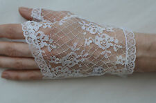 Ladies Lace Fingerless Gloves White Size S