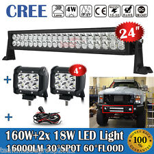 24INCH 160W+2X 4INCH 18W LED LIGHT BAR+WIRE KIT FIT FOR JEEP ATV 4X4WD FORD F250
