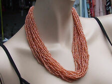 Delightfl Orange Coral Glass Beads 20  Strand Multi String Necklace Choker Chain