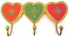 NEW UNIQUE SHABBY CHIC WOODEN HAND CRAFTED HEARTS WALL HAT/COAT 3*HOOK RACK 26CM