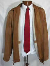 Mens Large Wilsons Leather Pelle Studio Tan Jacket Coat Wool Lined EUC Zip Front