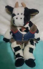 """Build a Bear Workshop Black & White COW stuffed 19"""" with OUTFIT and BELL (130)"""
