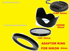 TO NIKON P500 P510 P520 P530 CAMERA-  ADAPTER RING+UV FILTER+LENS HOOD+CAP 62mm