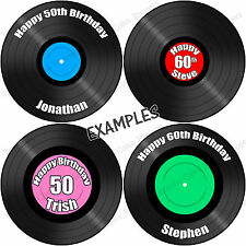 Personalised Vinyl Record 7.5 Inch Round Edible Icing Cake Topper