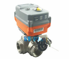 """New 3/4"""" 3 Way T SS304 Proportional Integral Control Motorized Electrical Valve"""