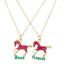 Lux Best Friends BFF Pink Horse Necklace Set ( 2 Pc )