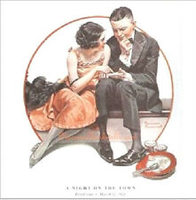 """Norman Rockwell print: """"A NIGHT ON THE TOWN"""" 11x 15"""" couple dating first date"""