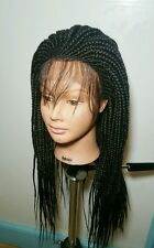 fully hand braided lace front wig with front cornrow color 1b