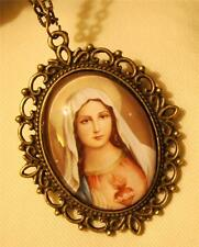 Lovely Picot Rim Earth Toned Immaculate Heart of Mary Glass Cameo Medal Necklace