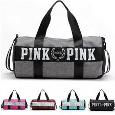 New Victoria's Secret PINK Grey Canvas Yoga Duffle Bag School Holiday Gym Travel