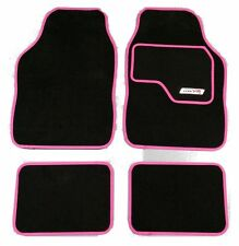 Full Black Carpet Car Floor Mats With Pink Boarder For Peugeot 206 207 308 407