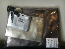 NWT Bloomingdale's 2016 GWP Metallic 3 Piece Cosmetic Beauty Makeup Bag