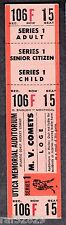 1985-87 ACHL Mohawk Valley Comets Full Playoffs Ticket Defunct Mint Condition