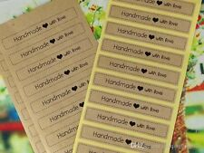 45 X Sticker Stickers 'Hand made with love' Wedding favours Kraft Craft Labels *