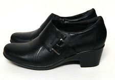 Clarks Black Booties Boot Shoes Women's 8 M Black Leather Slip On Side Buckle