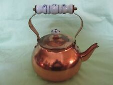 "Vintage Daewoo 9"" Copper & Ceramic (Blue/White) Tea Kettle/Pot with Lid Vintage?"