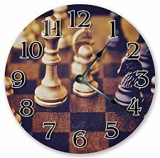 """10.5"""" VINTAGE CHESS BOARD GAME CLOCK Large 10.5"""" Wall Clock - Home Décor - 3177"""