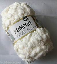 RICO DESIGN POMPON POMPOM SCARF YARN WOOL * 200G BALL ! * CREAM (001)