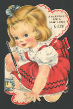 Vintage Childs Valentines Day Card Little Girl Paint Brush & Bottle of Paint