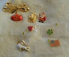 Phister Ent 1996 Signed Goldtone Bow Pin/Brooch & 7 Charms