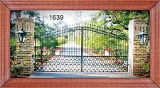 Ornamental Iron Driveway Entry Gate 14ft Wide Dual Swing. Handrails, Fence Bed