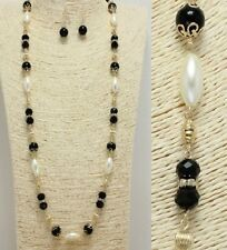 Gold Black and Cream Pearl Long FASHION Necklace Set