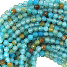 "6mm faceted blue crab fire agate round beads 14"" strand"