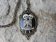 SKELETON SIAMESE TWINS CAMEO NECKLACE- Hand Paint-VICTORIAN, GOTH, HALLOWEEN!!!!