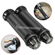 "Black 7/8"" Hand Grips W/ Bar End Handlebar Cafe Racer Bobber Custom Motorcycle"