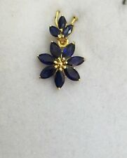 14k Solid Yellow Gold Cluster Pendant 2.69CT Natural Sapphire Marquise Cut1.27GM